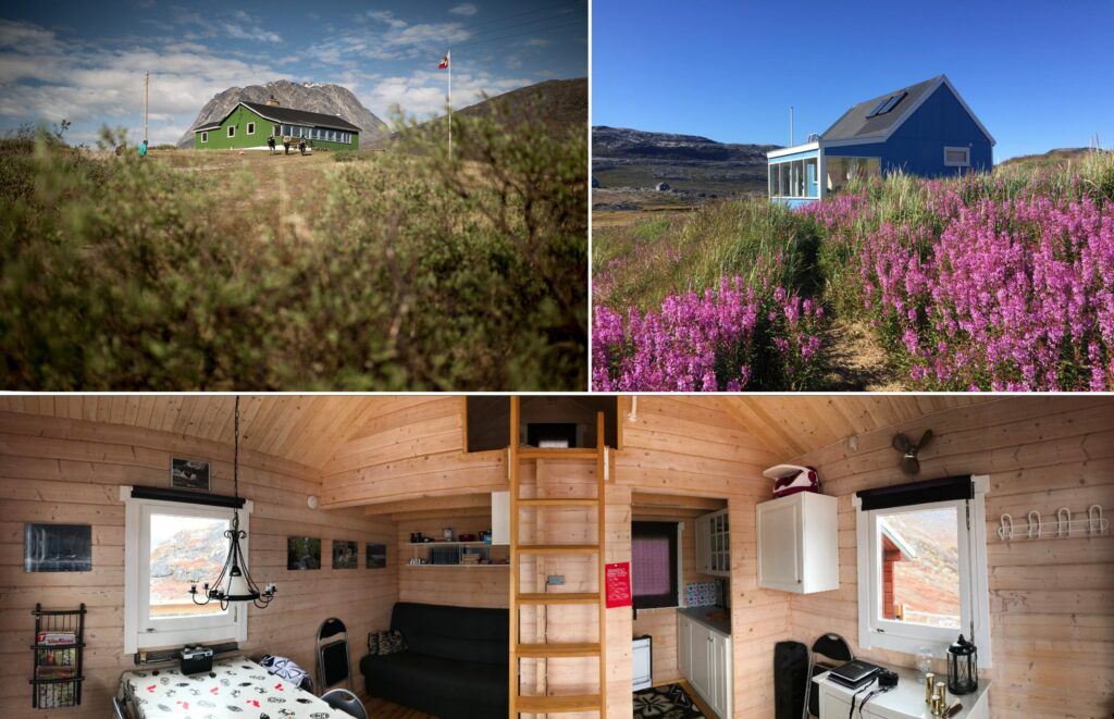 Montage of exterior and interior of some of the accommodation that exists in the Nuuk fjord - Greenland