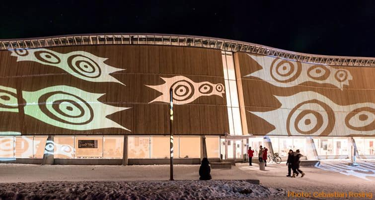 Exterior of the  Katuaq Cultural Centre of Nuuk at night with illumination. City Tour - Greenland