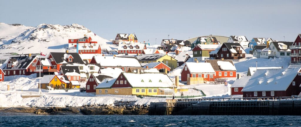 Colorful houses in the historical part of Nuuk under the winter sun - Greenland