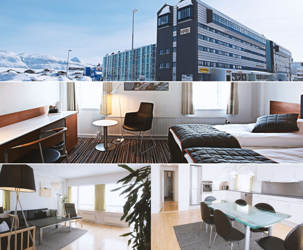 Montage of images showing the exterior and interior of the Hotel Hans Egede and apartments - Nuuk, Greenland