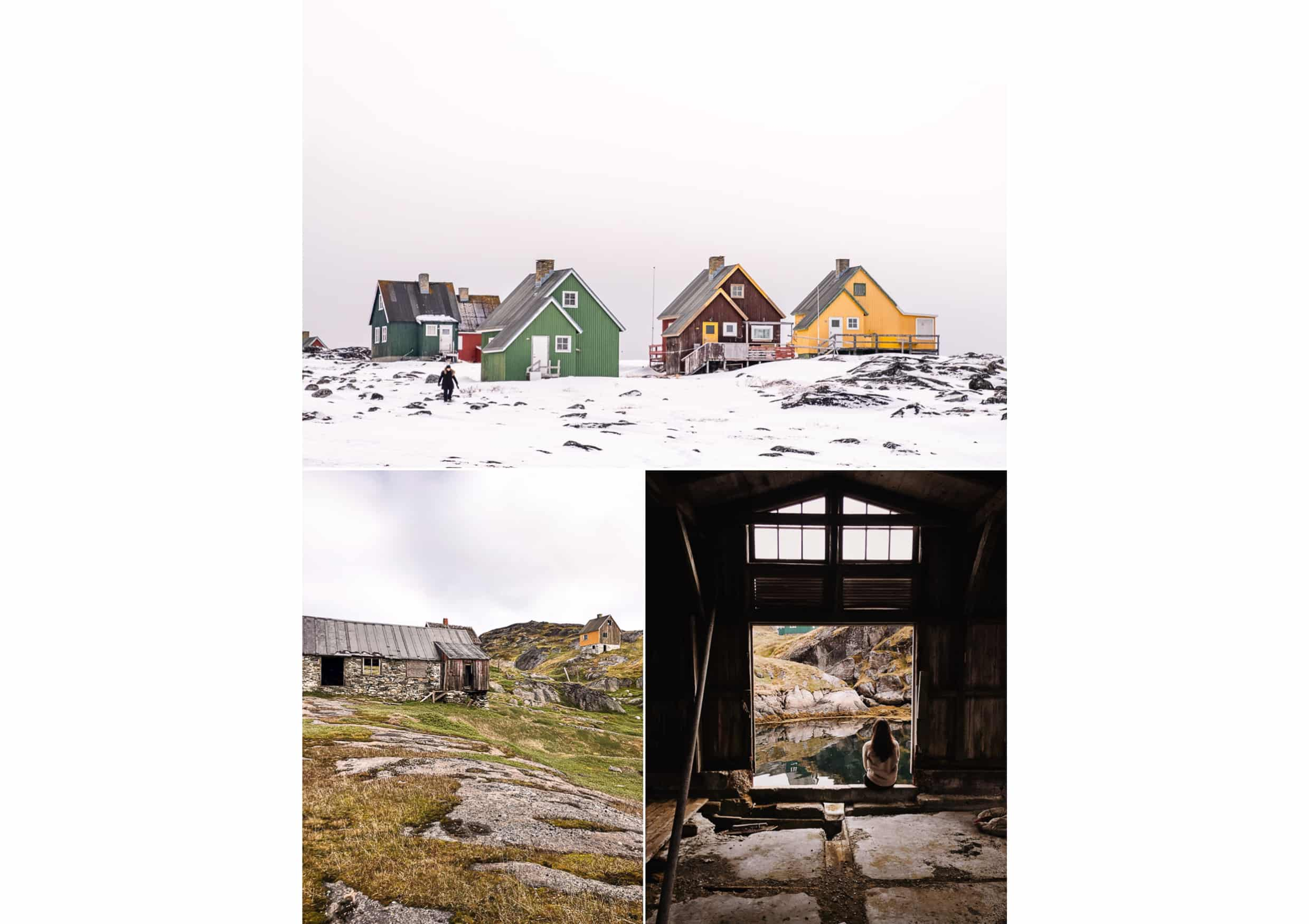 Montage of maintained and derelict houses of Qoornoq (top) and Kangeq (bottom) in the Nuuk Fjord