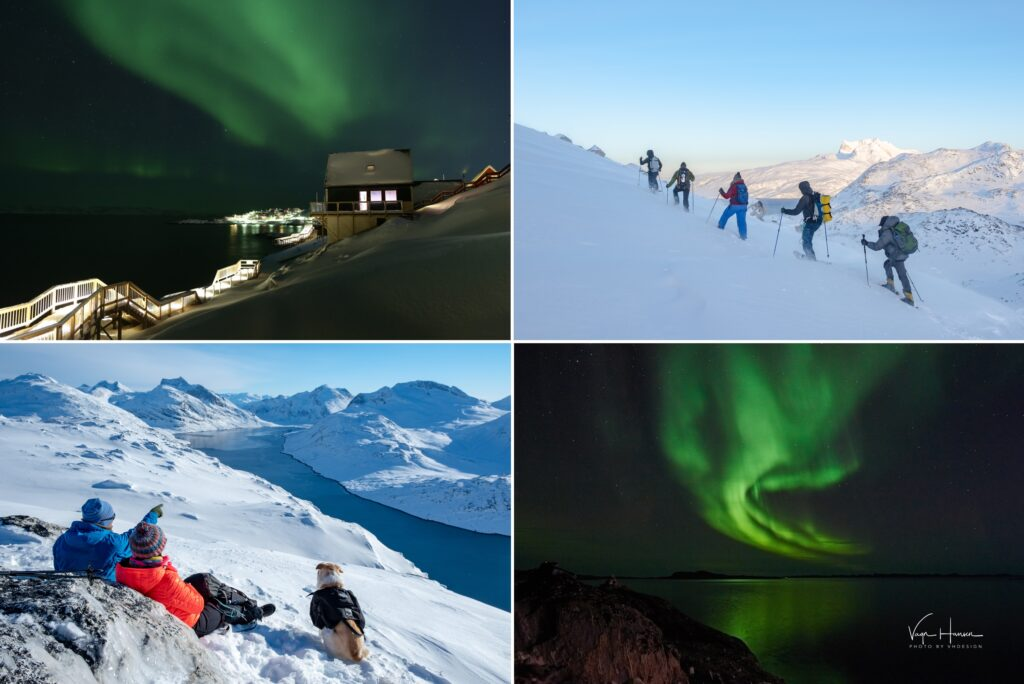 Montage of images of the Northern Lights and snowshoeing excursions near Nuuk - Winter in Greenland