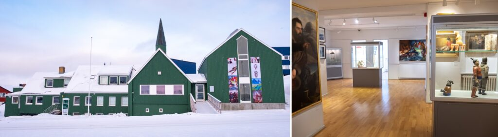 Exterior and interior of Nuuk Art Museum - perfect place to visit on a City tour or for some Greenlandic Culture - Greenland