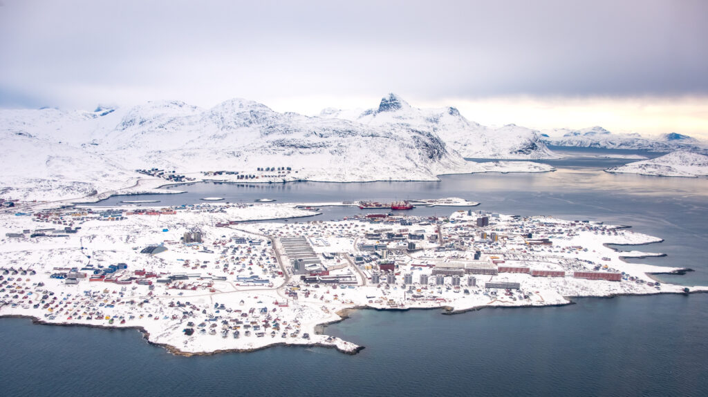 Nuuk city with Store Malene and Kingittorsuaq as seen from above on a scenic flight during winter - Greenland