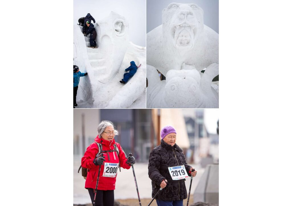 Montage of images from the Nuuk Snow Festival and Maaji Nuan - winter festivals in Greenland