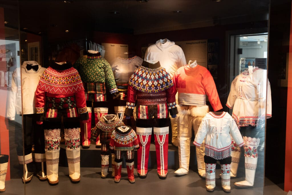 The variety in the Greenlandic national dress on display at the Greenland National Museum and Archives in Nuuk - Guide to Greenland