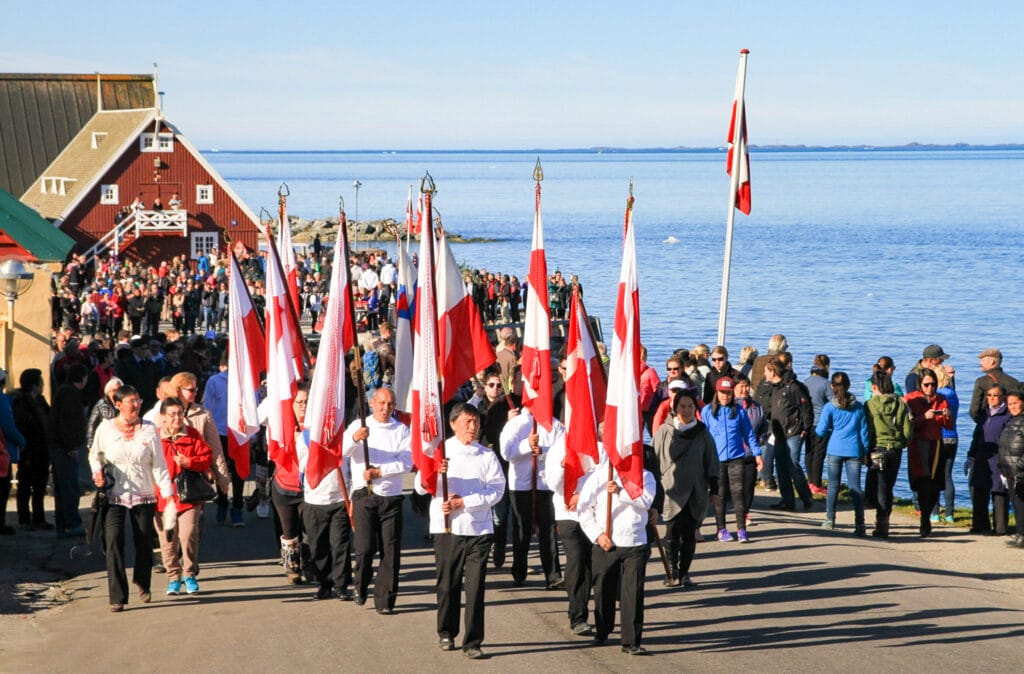 Toke Brødsgaard. Greenland National Day parade in the Colonial Harbour in Nuuk
