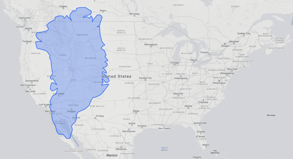 Size of Greenland versus the US from thetruesize.com