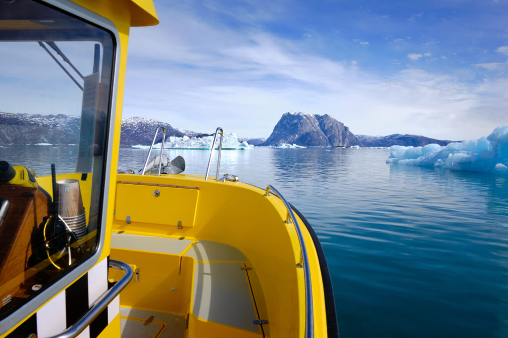Approaching the entrance to the Nuuk Icefjord on a boat tour with Guide to Greenland