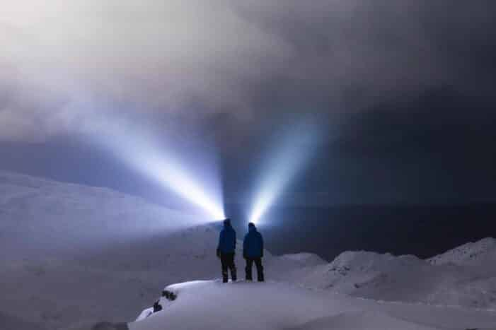 Northern Lights from a mountain top | Snowshoe tour in Nuuk