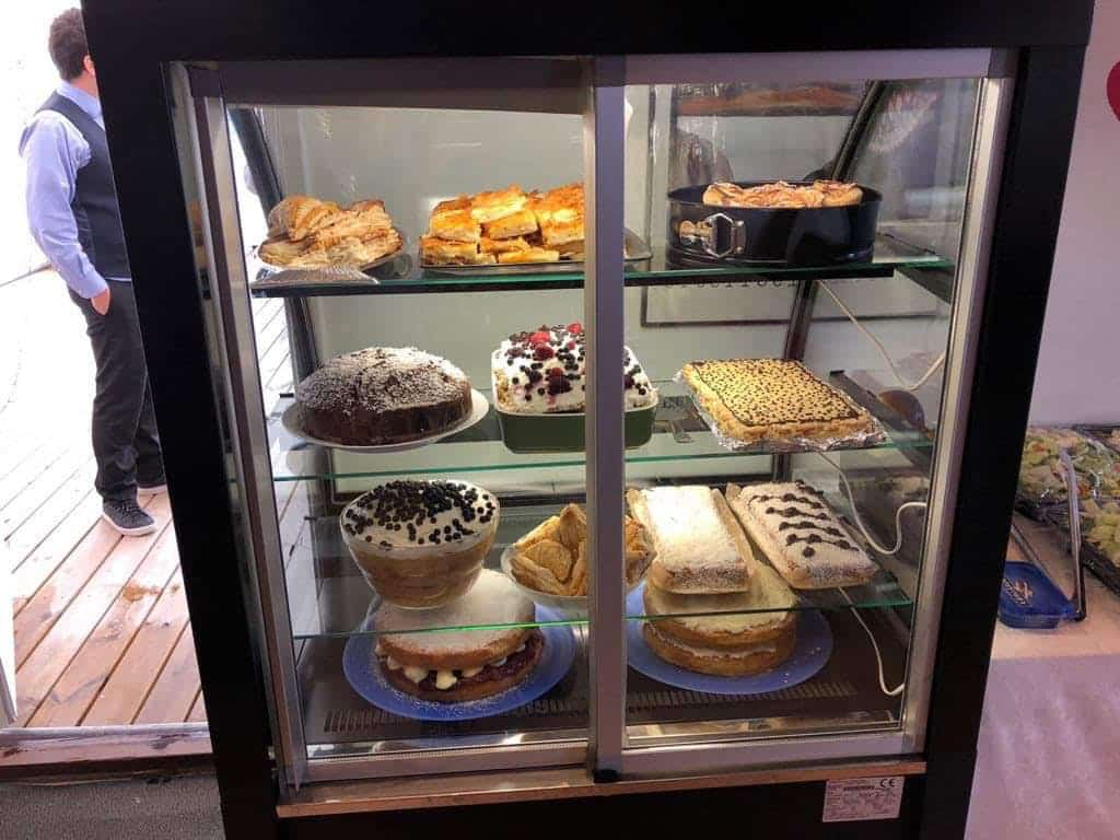 Cakes in a cabinet
