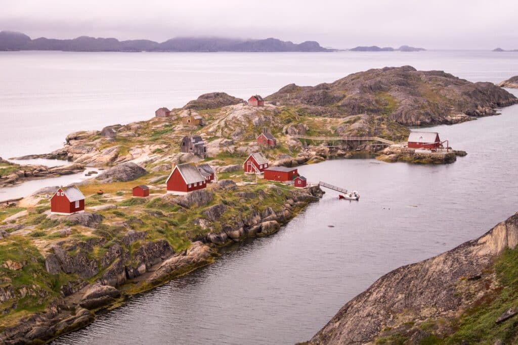 Aerial view of the abandoned settlement of Assaqutaq