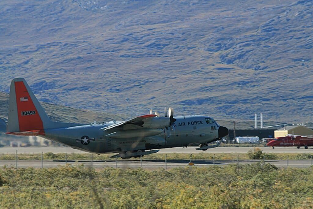 Air force plane taking off in Kangerlussuaq