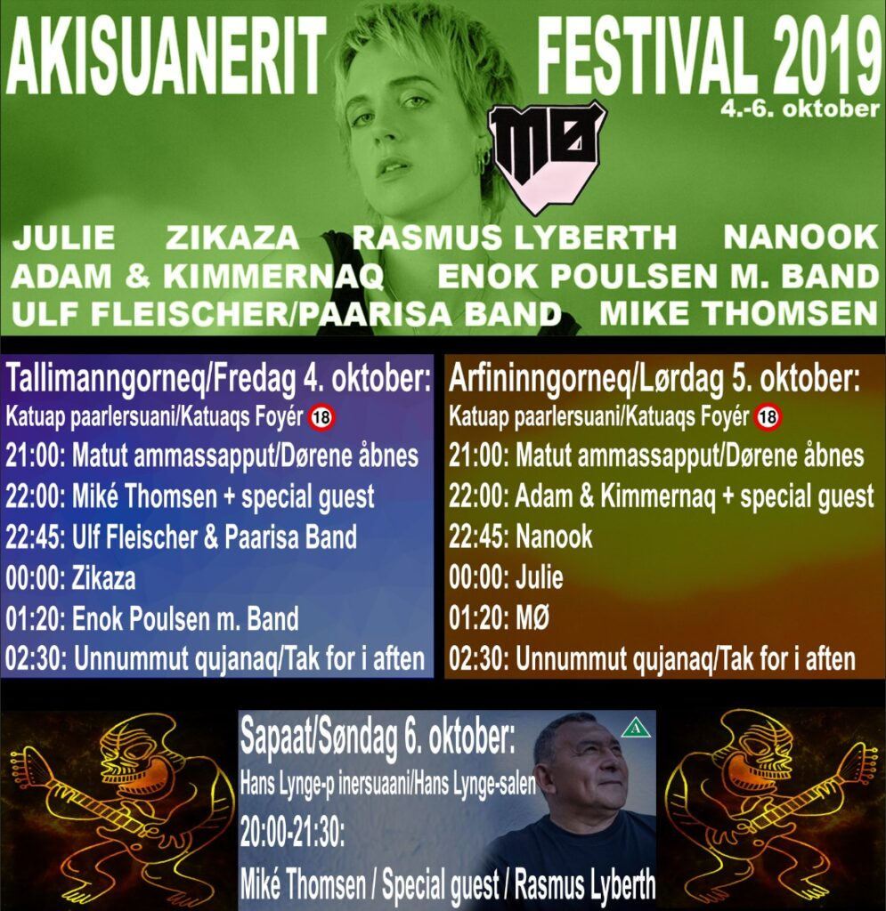 Schedule for the 2019 Akisuanerit Festival in Nuuk, Greenland