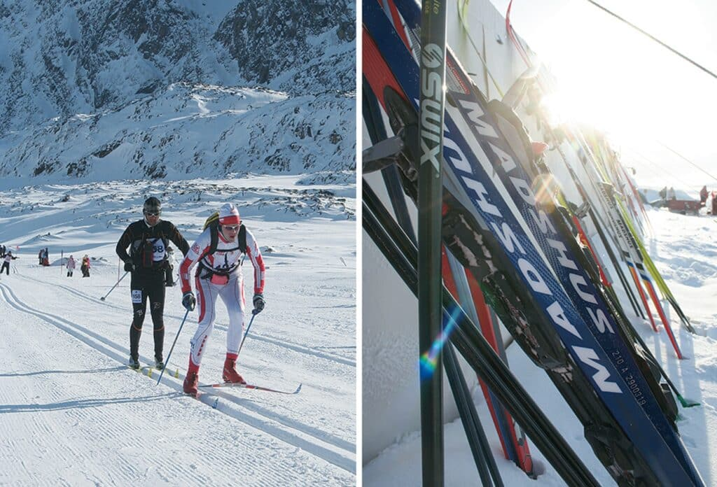 Skiers and skies during Arctic Circle Race