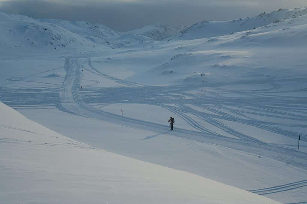 A lonely skier during Arctic Circle Race