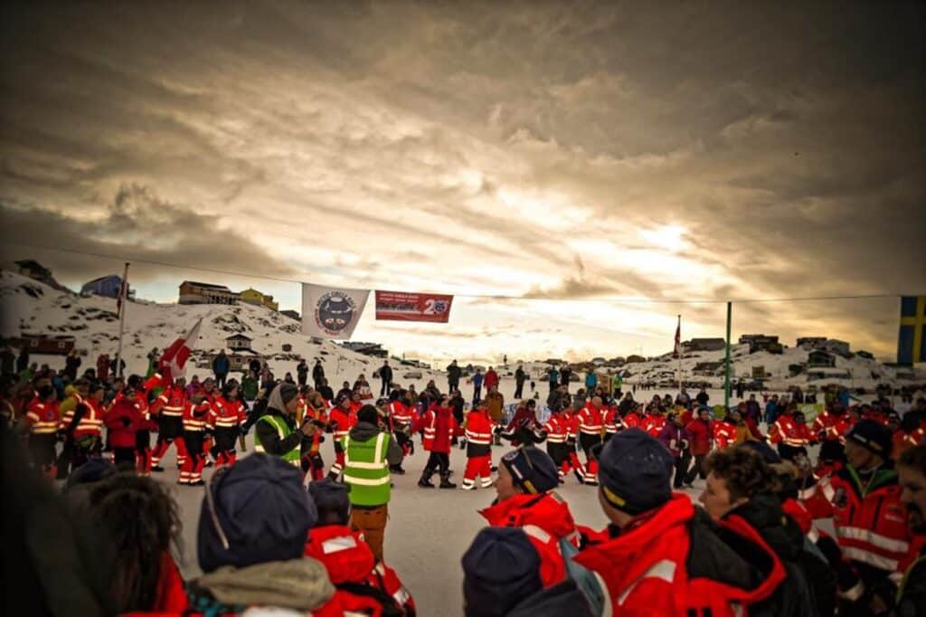 Safety workers lining up during Arctic Circle Race