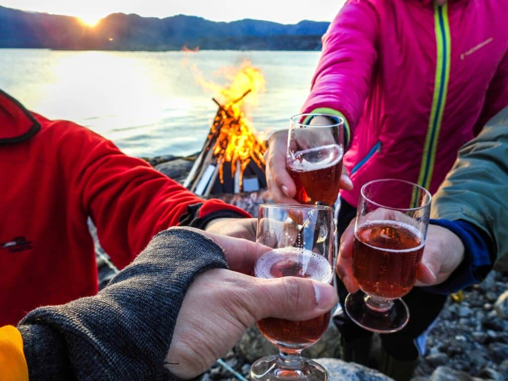 People toasting in front of a beach bonfire