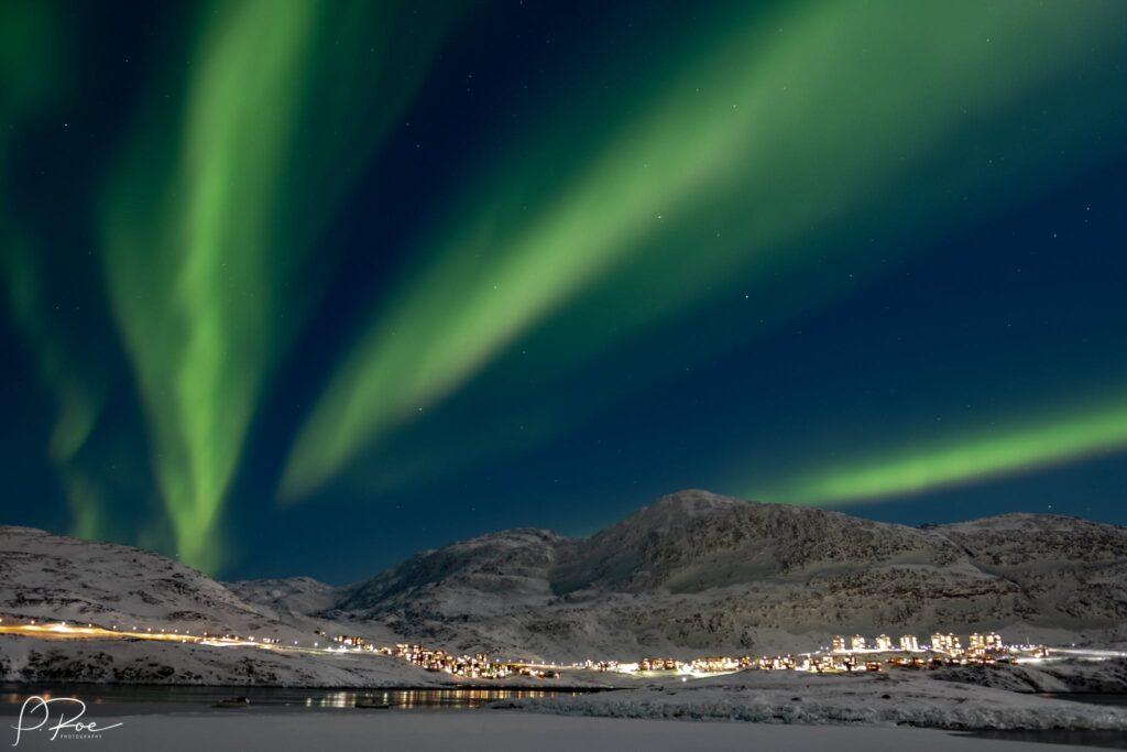 Northern lights over Qinngorput in Nuuk