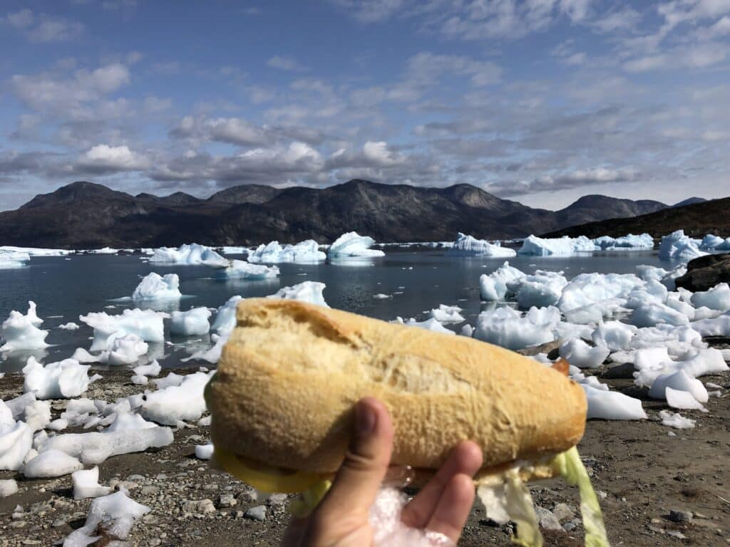 Lunch by the icebergs in Kapisillit