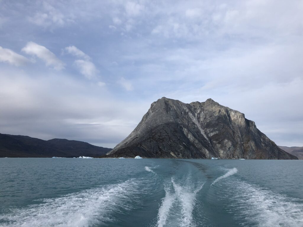 Large mountain seen from a boat