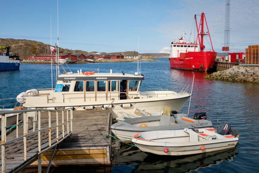 DiskoLine boat in Aasiaat harbour ready for the transfer to Qeqertarsuaq
