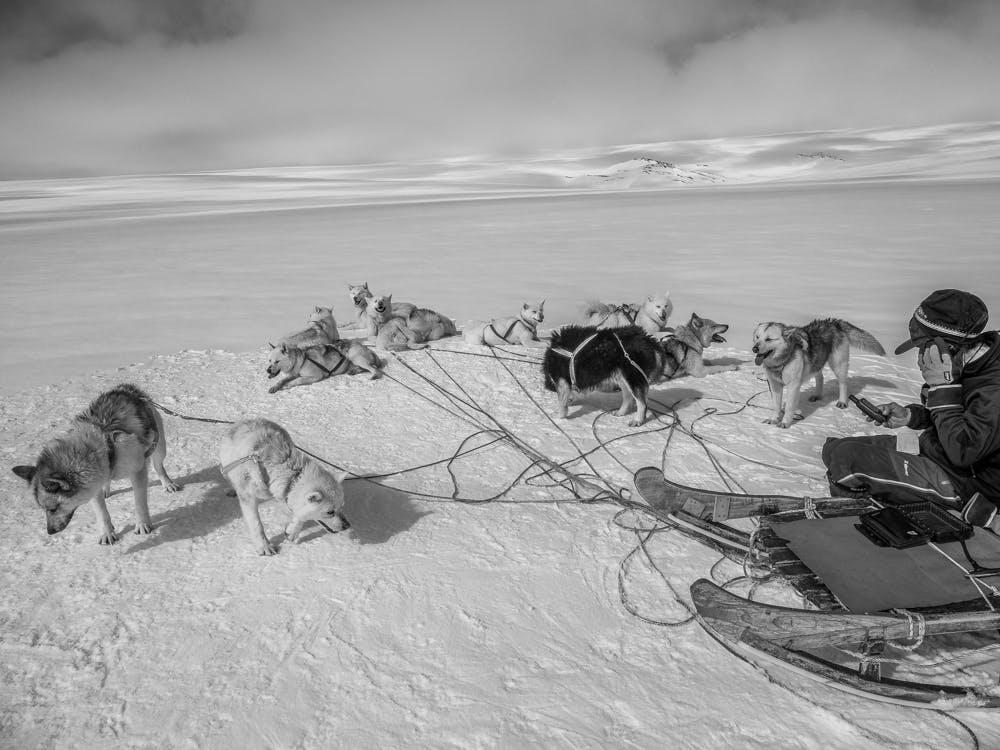 Man talking in a radio on the sea ice