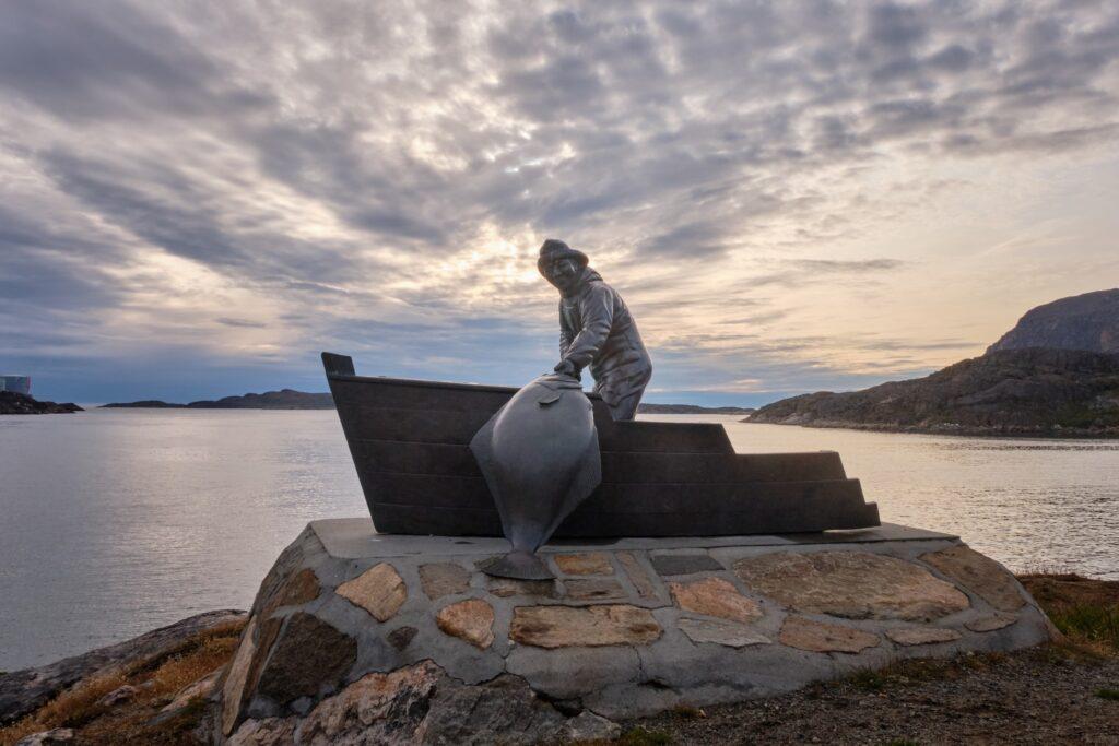 The Fisherman statue in Sisimiut