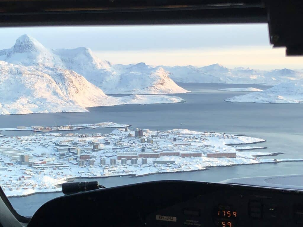 Flying over Nuuk