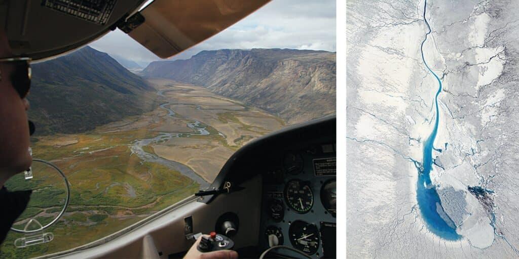 Pilot flying above Kangerlussuaq