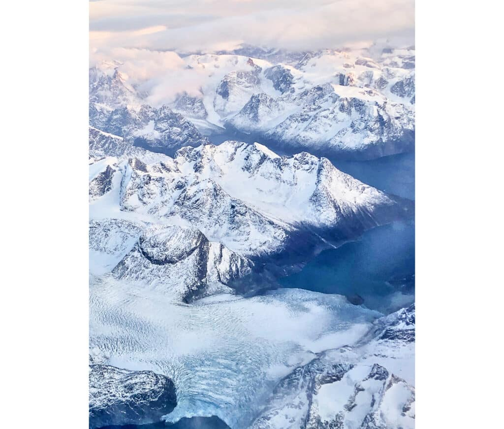Snowy peaks in West Greenland seen from the air