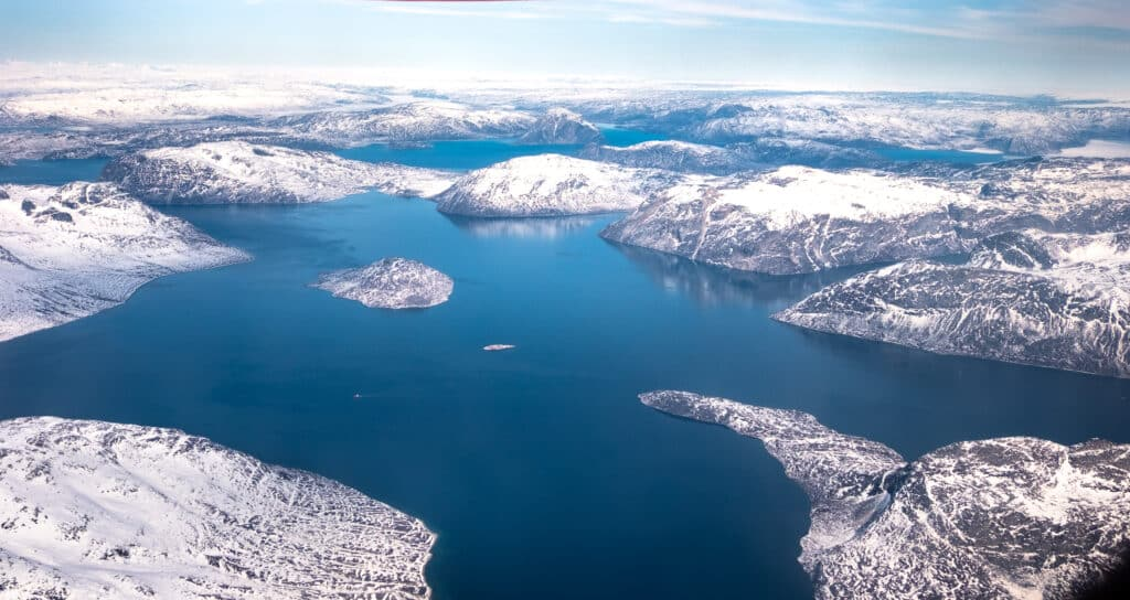 Aerial view of part of the Nuuk Fjord