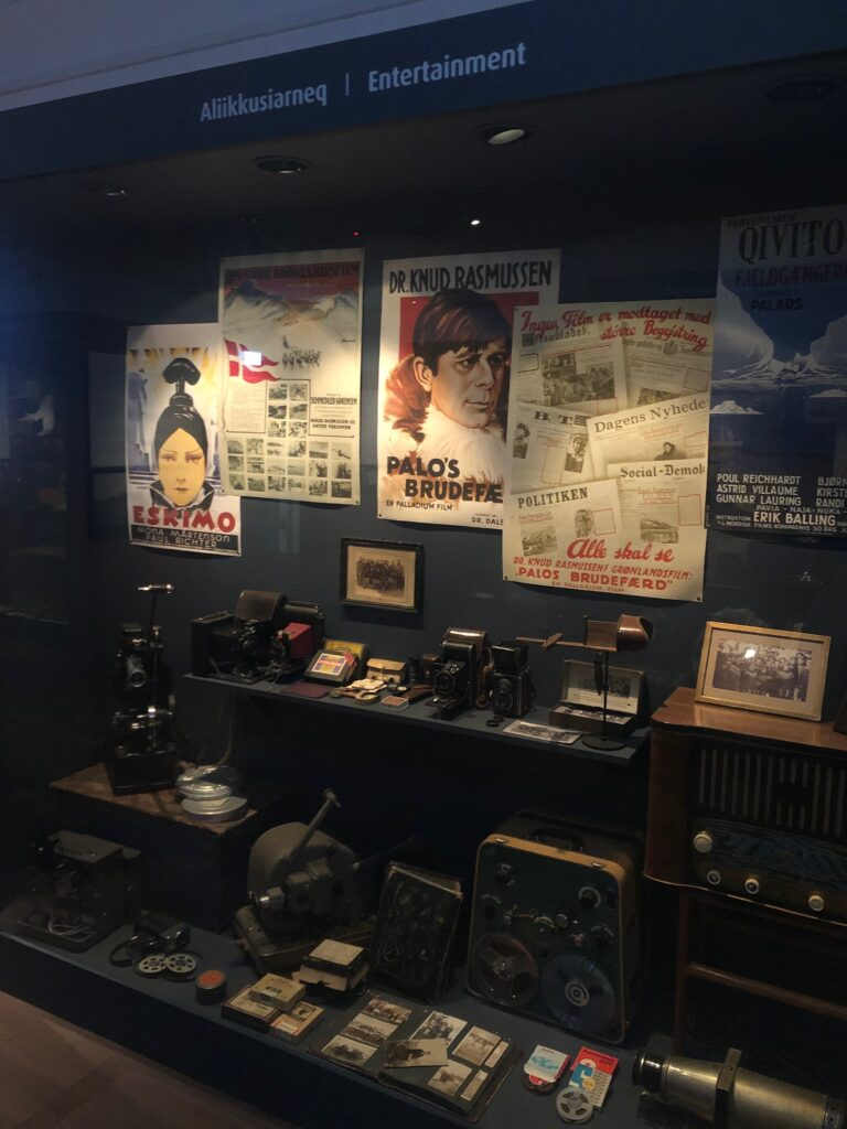 Old posters and other entertainment on display at a museum in Greenland