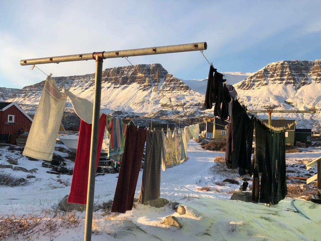 Clothes drying outside in the sun