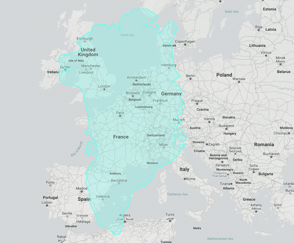 Greenland compared with Europe