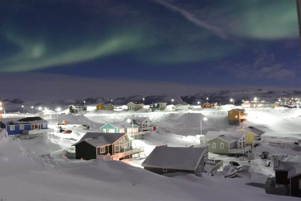 View of houses and the northen lights