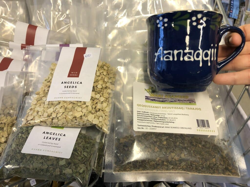 Souvenirs in Greenland, a cup and seeds