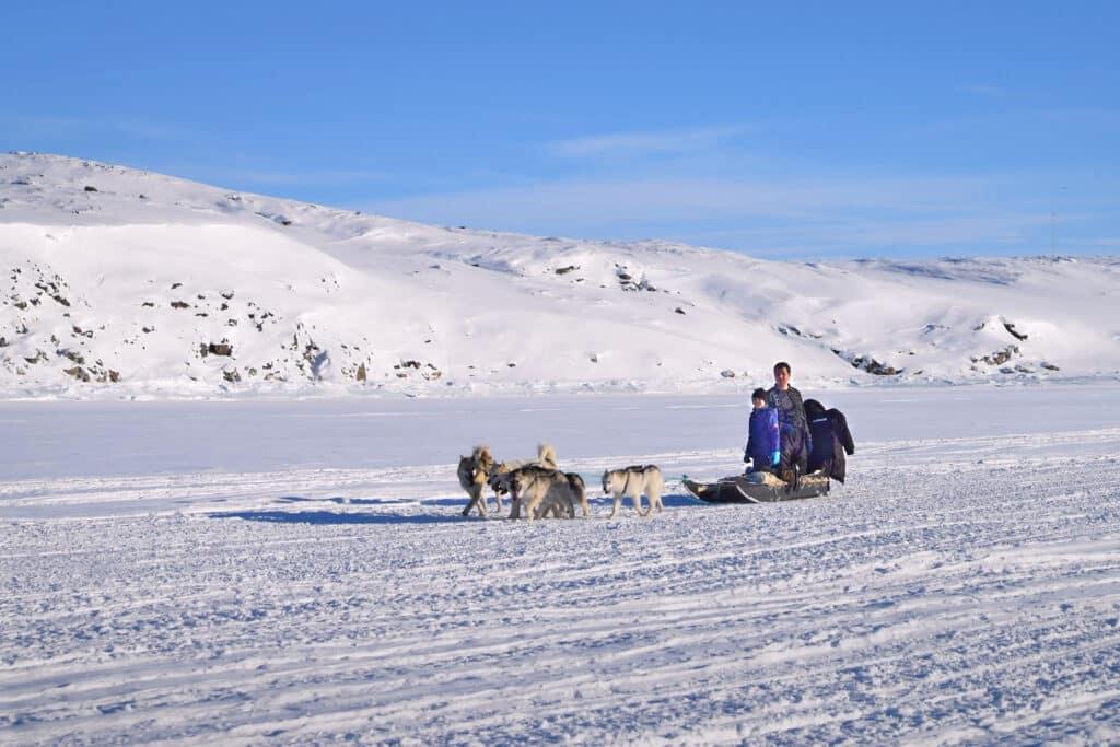 Dogsledding across the sea ice near Aasiaat