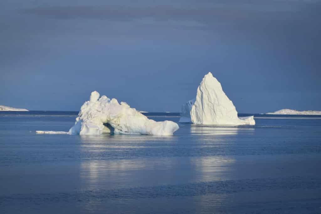 Large icebergs outside of Aasiaat during the Summer