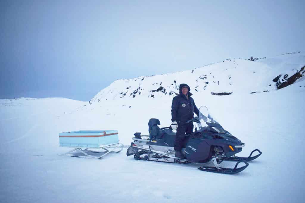 Snowmobiling on the sea ice near Aasiaat