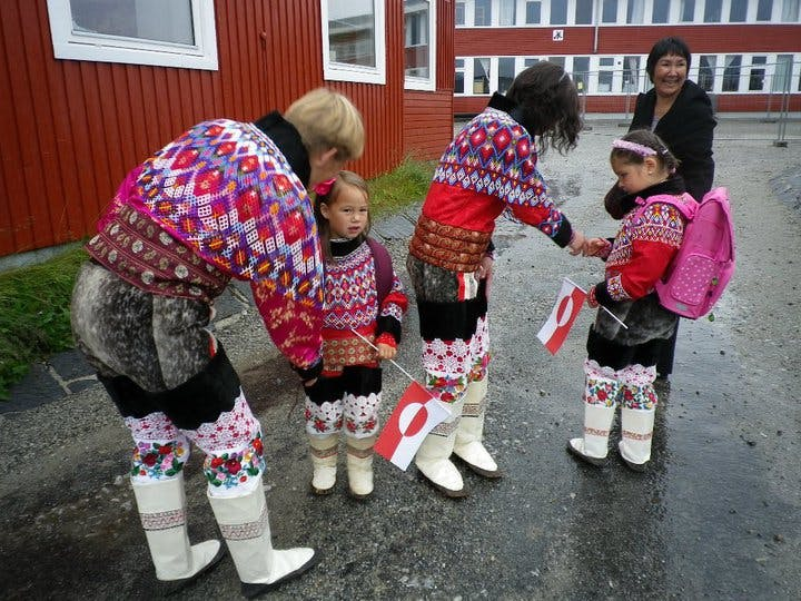 Greenlandic people in their national costumes