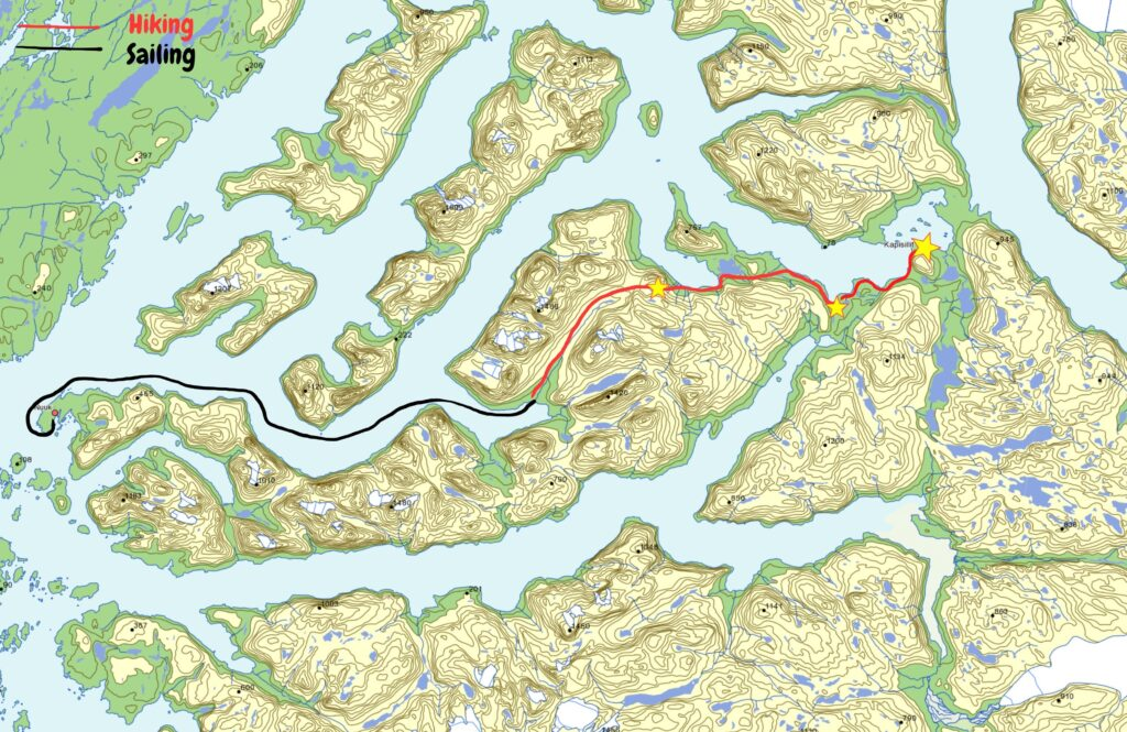 Map of the day hike from Kapisillit to Qooqqut