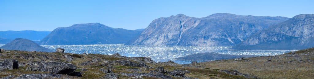 Panorama shot of the icefjord in Nuuk