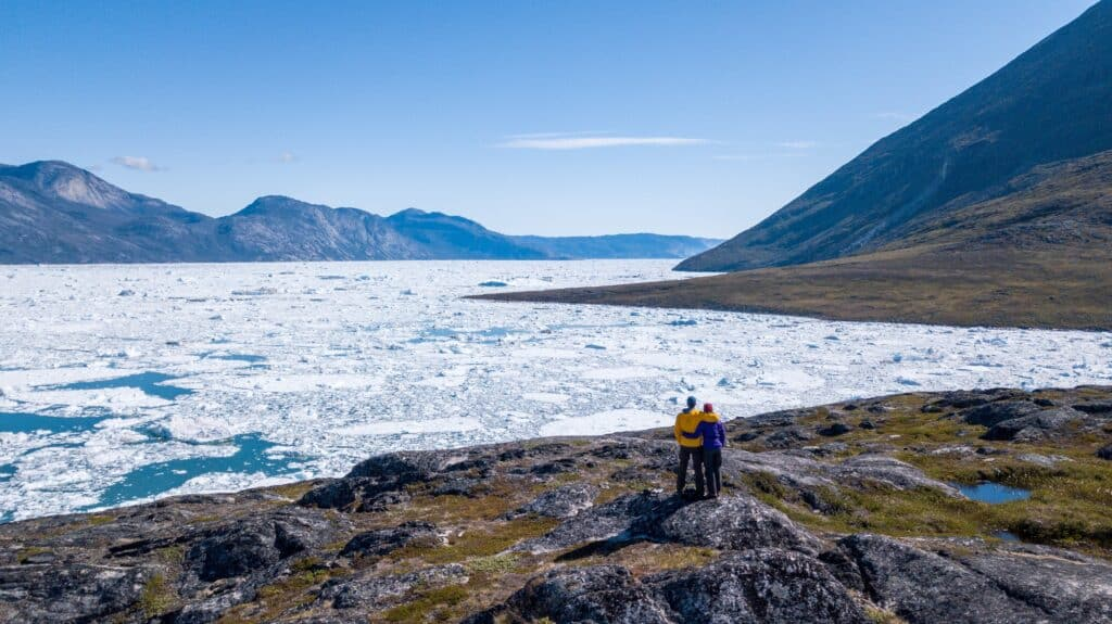 Couple overlooking the icefjord in Nuuk