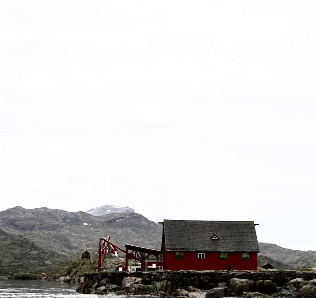 A small red house in Greenland