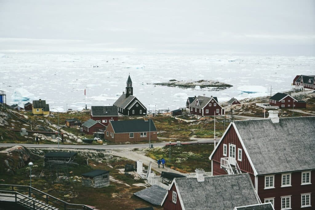 Church in Ilulissat seen from a hill top