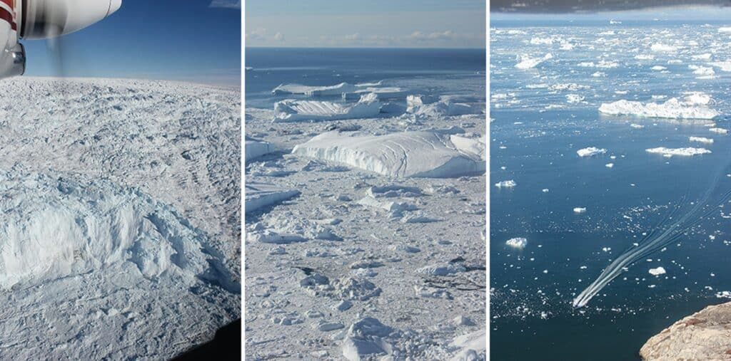 Flying over the icesheet and Ilulissat isfjord in Greenland
