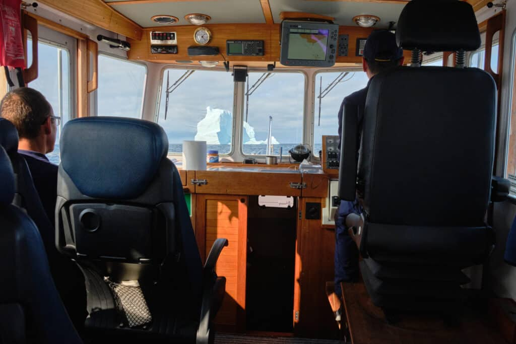 View from inside a water taxi on a transfer across Disko Bay from Aasiaat to Qeqertarsuaq