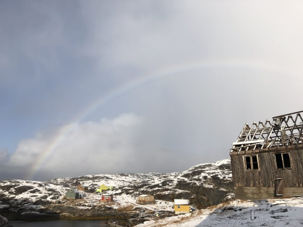 Rainbow over The abandoned settlement of Kangeq