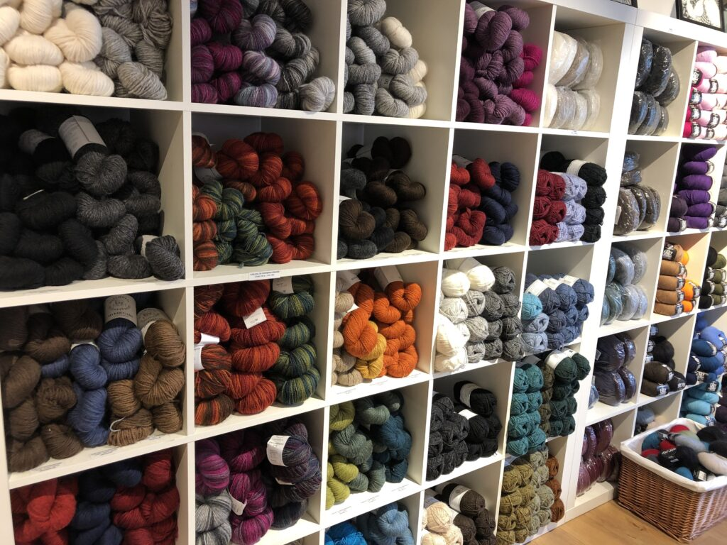 Balls of yarn in many different colours